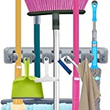 Mop and Broom Holder, VICKMALL Non-slip Automatically Lock Wall Mounted hanger with Hooks for Closet, Rakes, Garden, Sports Equipment , Garage Storage Broom Hook (5 Position 6 Hooks)