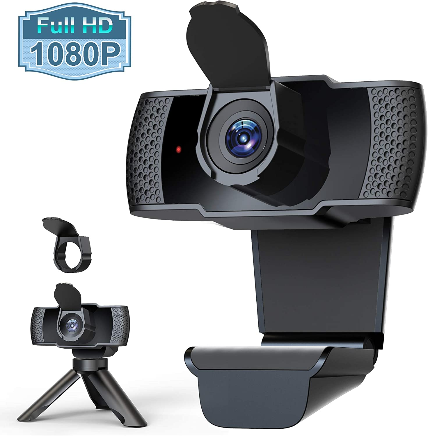 Webcam with Microphone for Desktop, 1080P HD Computer Camera with Privacy Cover Shutter & Tripod, USB PC Laptop Streaming Web Camera with Wide View Angle for Video Conferencing Calling Recording