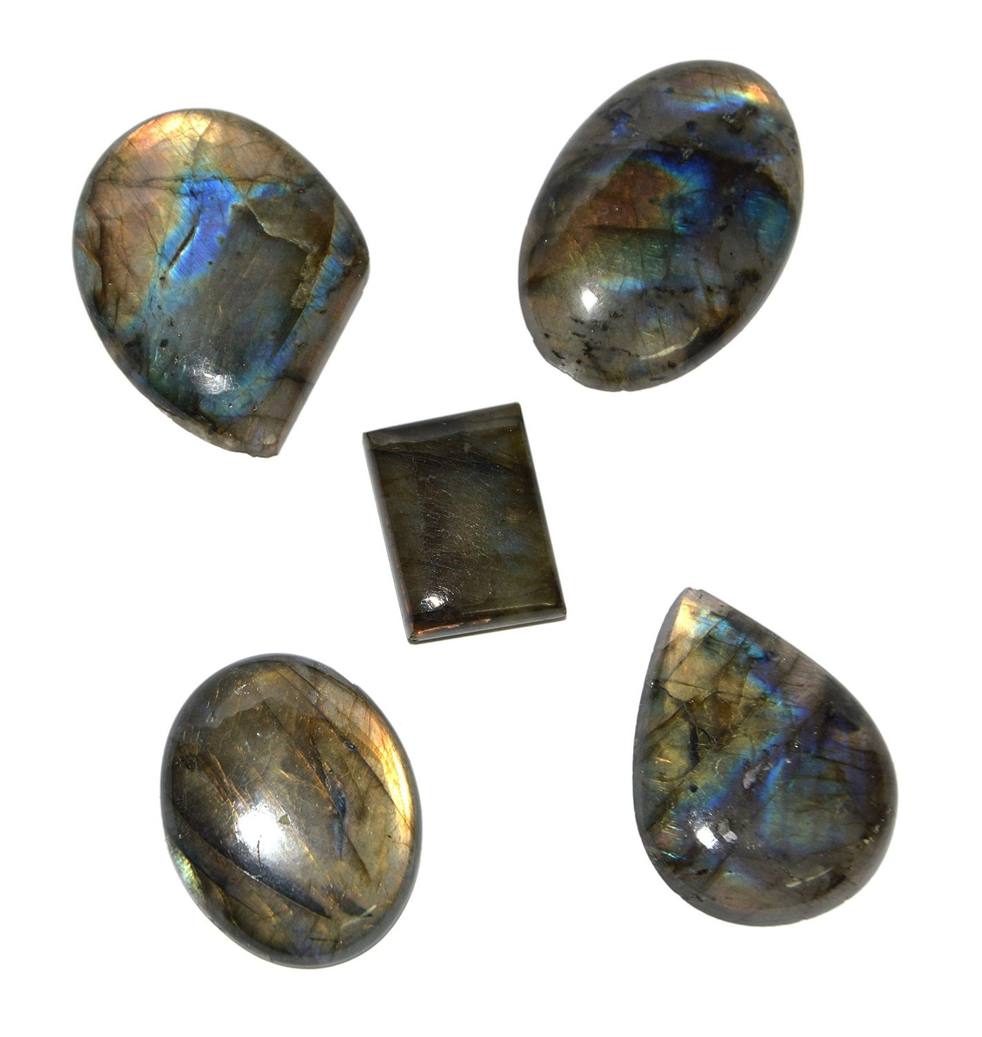Aatm Healing Gemstone Labradorite Crystal Cabochon Stone (Set Of 5 Stones) (Stone of transformation) Aatm Collection CNGPC-14