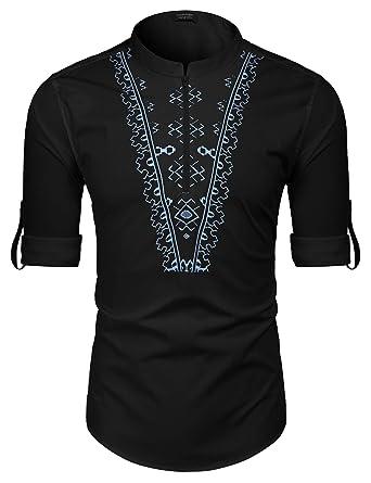 0c52b98f247 COOFANDY Mens African Print Dashiki Shirt Long Sleeve Slim Fit Linen Cotton  Floral Henley Shirts