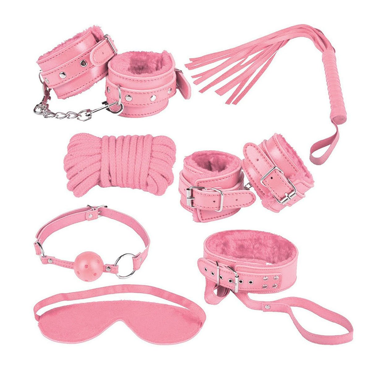 AKStore 7PCS Under the Bed Sex Bondage System Set Bed Restraints Kit Leather Ankle Cuffs Set For Male Female Couple(Pink)