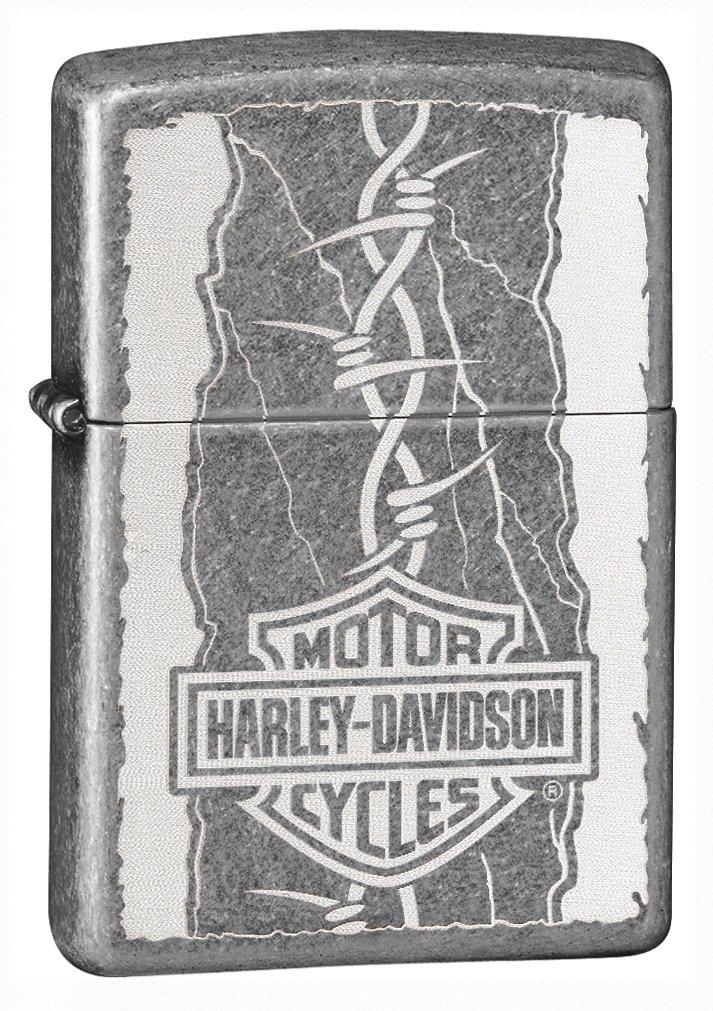 Zippo Harley-Davidson Barb Wire Antique Silver Pocket Lighter