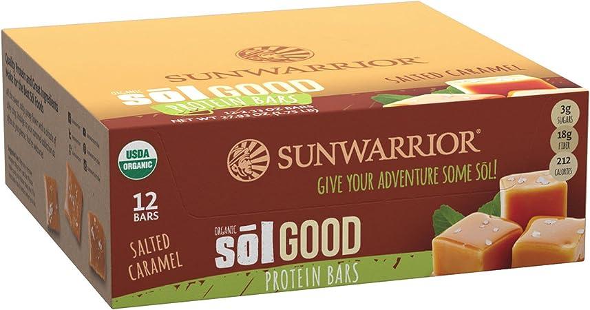 Sunwarrior - Caja de 12 barritas de proteínas vegetales - Sol Good Salted Caramel