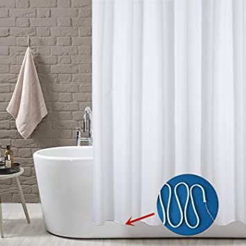 YOLOPLUS Shower Curtain Liner White 80 x 80 Inch Weighted Hem Extra Long  Water-Repellent Polyester Fabric With 12 Hooks Included for Bathroom  Showers ...