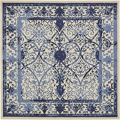 Unique Loom La Jolla Collection Tone-on-Tone Traditional Ivory Square Rug (6' 0 x 6' 0) ()