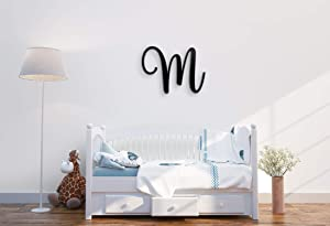 "Giant Wall Decor Letters Uppercase M | 24"" Wood Paintable Script Capital Letters for Nursery, Home Décor, Wedding Guest Book and More by ROOM STARTERS (M 24"" Black 3/4"" Thick)"