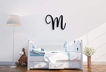 Amazon Com Giant Wall Decor Letters Uppercase M 24 Wood Paintable Script Capital Letters For Nursery Home Decor Wedding Guest Book And More By Room Starters M 24 Black 3 4 Thick Baby