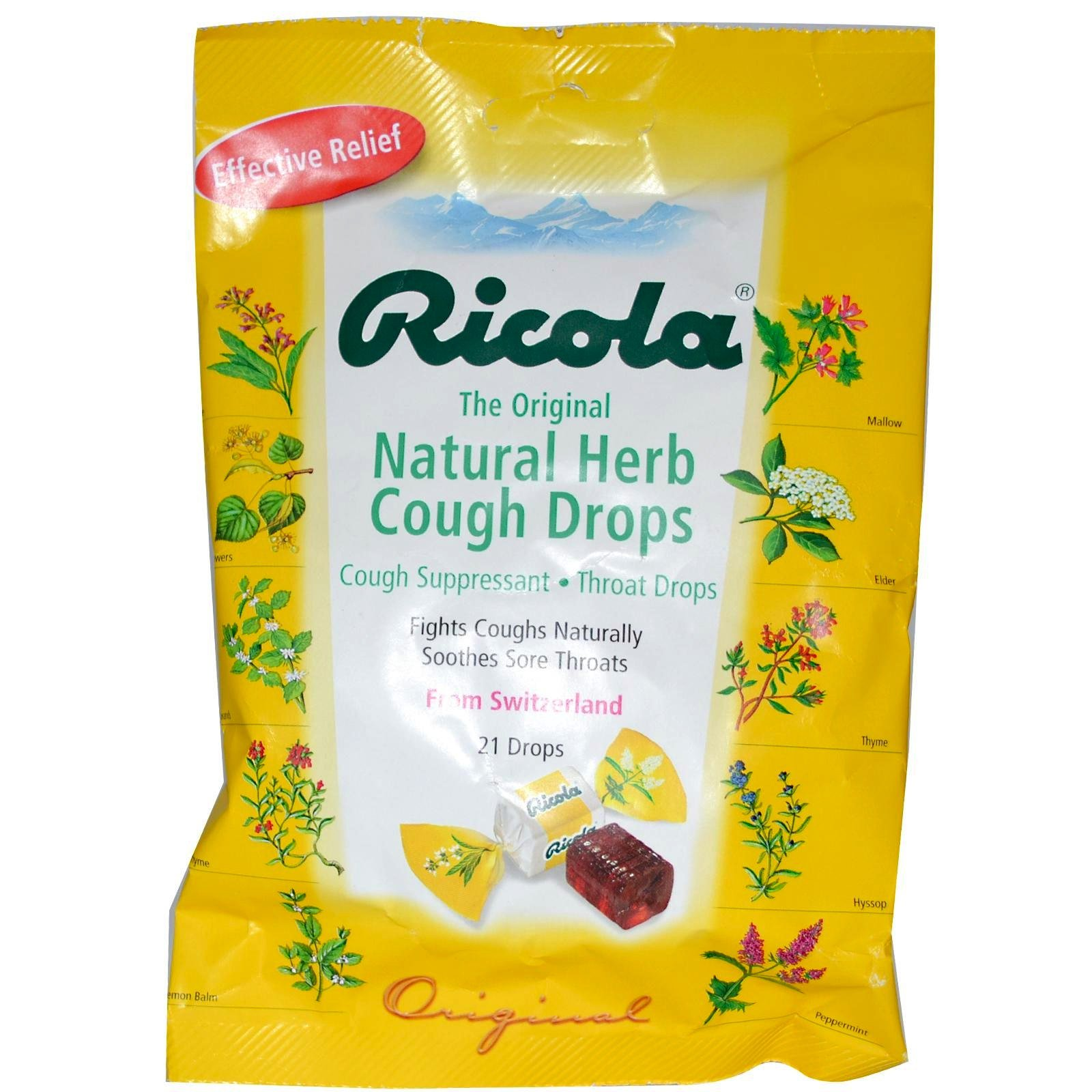 Ricola Natural Herb Cough Drops 21-Count (Pack of 6)