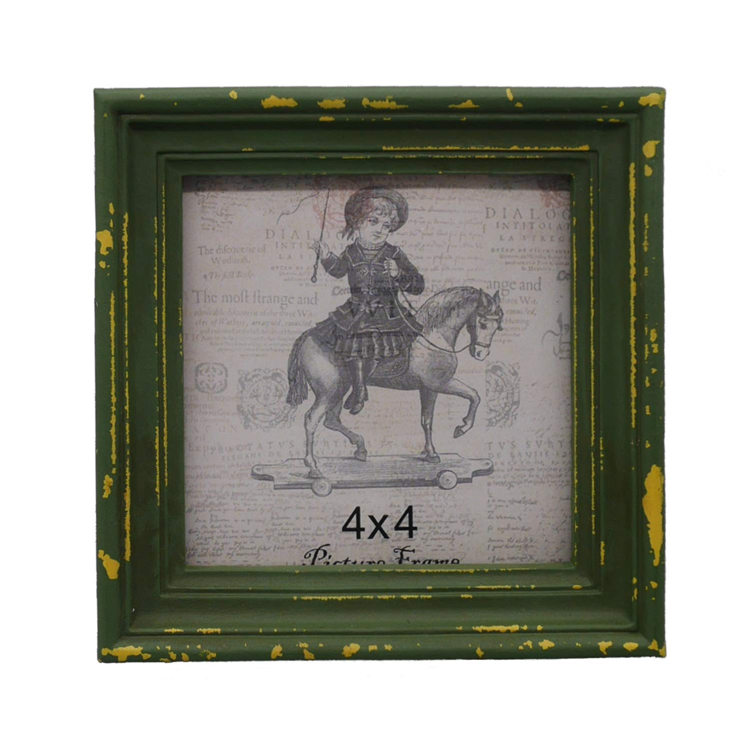 Simon's Shop 4x4 Picture Frame Shabby Chic Picture Frames 4x4 Square, Distressed Moss Green by Simon's Shop