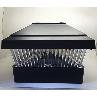 "Solar Powered LED Light Plastic Black Square Post Fence With Inner Post Base Mount Dimension 5""x5"" (Item Number NH225BK)"