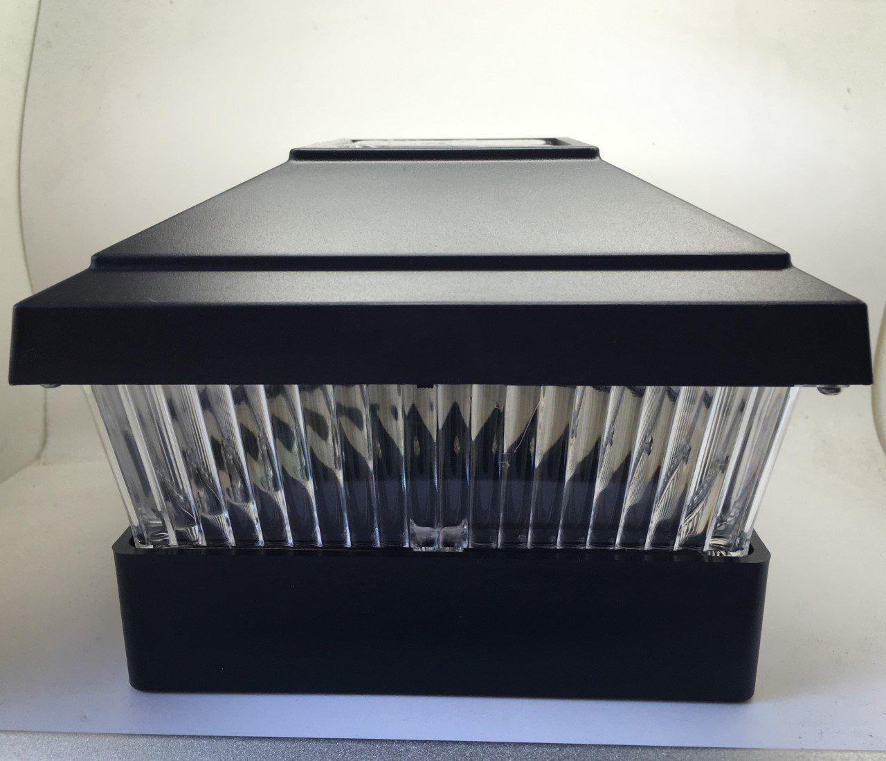 Set of 12 Solar Powered LED Light Plastic Black Square Post Fence With Inner Post Base Mount Dimension 5''x5'' (Item Number NH225BK)