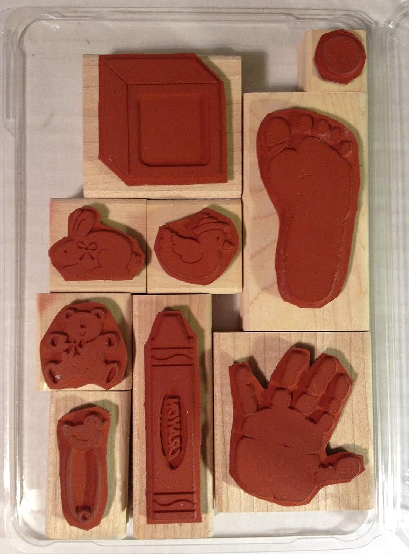 2 Step Stamping Set of 9 Kids Prints Definately Decorative