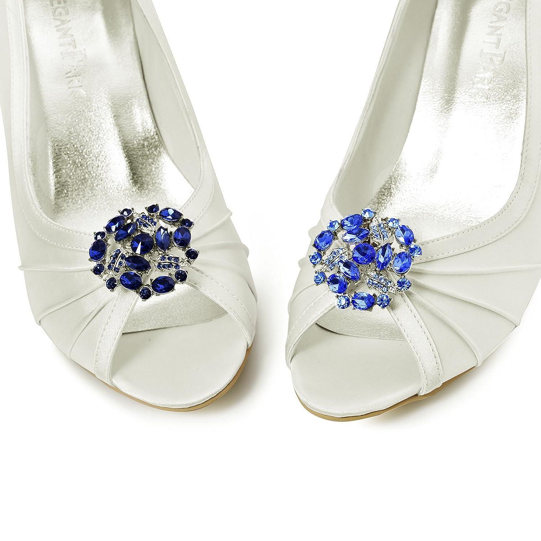 ElegantPark AM Mujer's Cristales Embragues Vestido Sombrero Zapato Clips Azul Marino 2 Pcs SX1zD