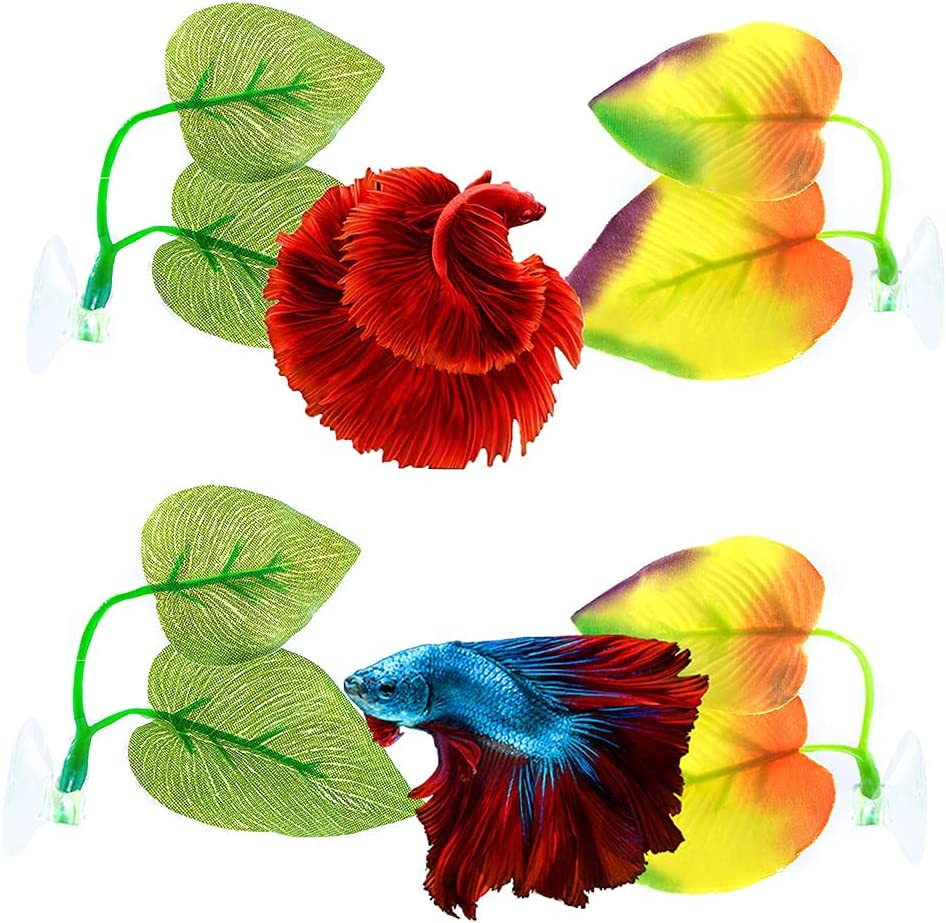 Aquazoo 4 PCS Bi-Leaf Betta Bed Hammock for Betta Fish, Leaf Beds Hiding Bubbling Snuggling Spawning Breeding Resting Spot, Premium Soft Fabric Double Layer with Removable Clear Suction Cup
