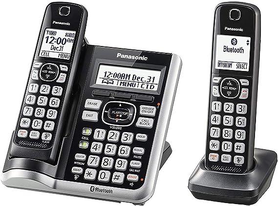 Panasonic KX-TGF572S - Teléfono inalámbrico con cable y contestador con 2 auriculares (redondo): Amazon.es: Electrónica