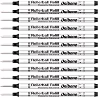 Unibene Montblanc Compatible Gel Ink Rollerball Refills 12 Pack, 0.7mm Medium Point - Black, Rolling Ball Refills Fit Mont Blanc Rollerball/Fineliner Pen