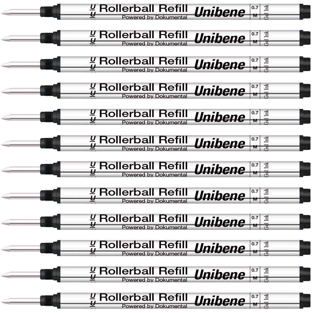 Unibene Montblanc Compatible Gel Ink Rollerball Refills 12 Pack, 0.7mm Medium Point - Black, Rolling Ball Refills Fit Mont Blanc Rollerball/Fineliner Pen by Unibene