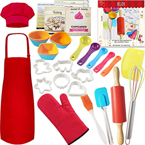 Chef Hat Real Kids Baking Set 32 Pcs Includes Kids Apron Oven Mitt Baking Sets for Children Best Suited Gift for Boys /& Girls for Age 5+ Real Baking Tools