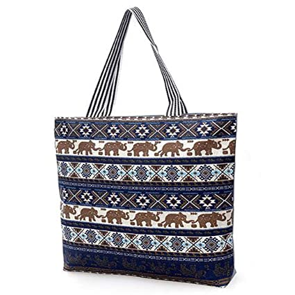 5f015885b280 FashionBoutique Heavy Duty Cotton Canvas Reusable Shopping Tote Bag or  daily use bag with beautiful pattern (Blue Elephant - Zip closure)