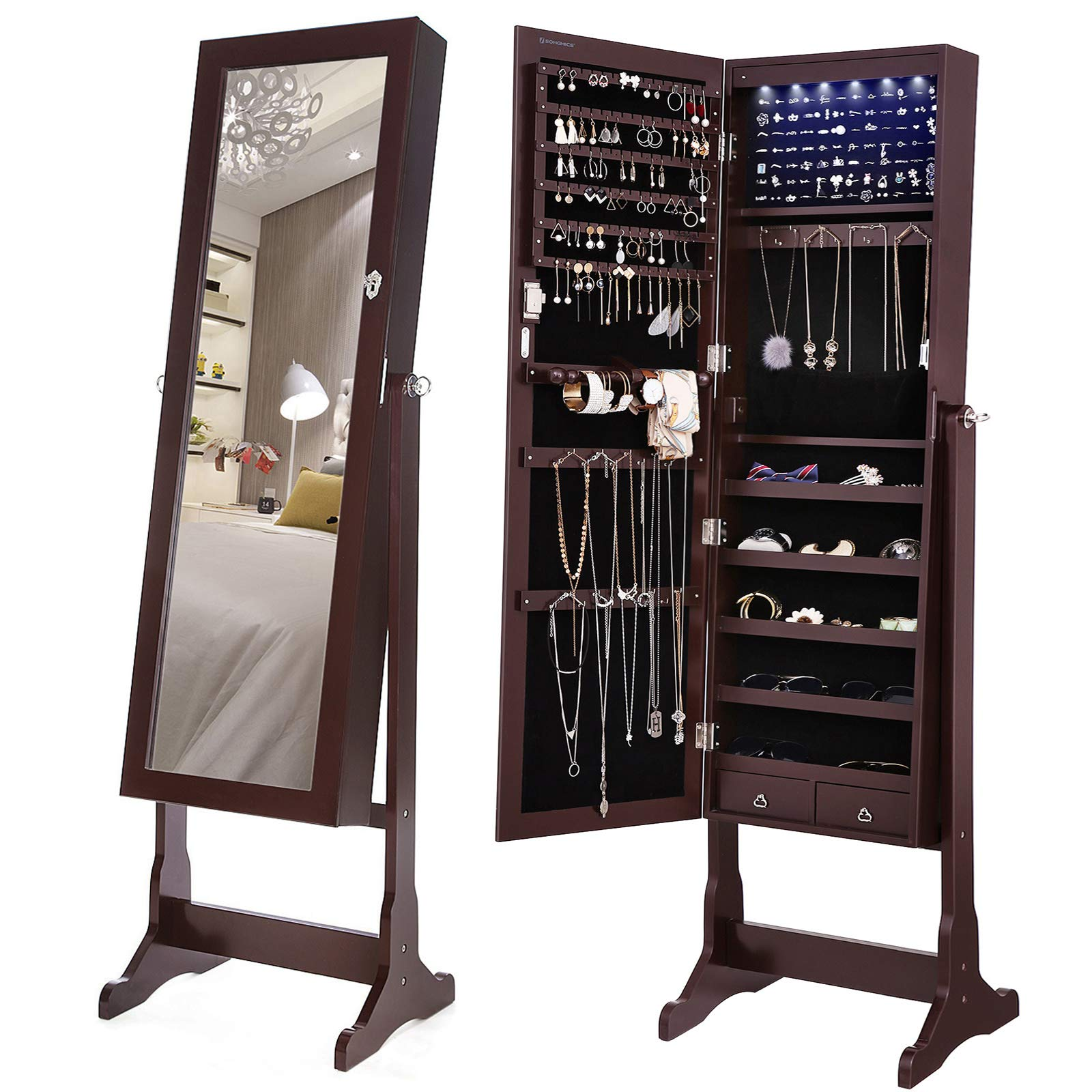 SONGMICS 6 LEDs Mirror Jewelry Cabinet Lockable Standing Mirrored Jewelry Armoire Organizer 2 Drawers Brown Mother's Day Gift UJJC94K