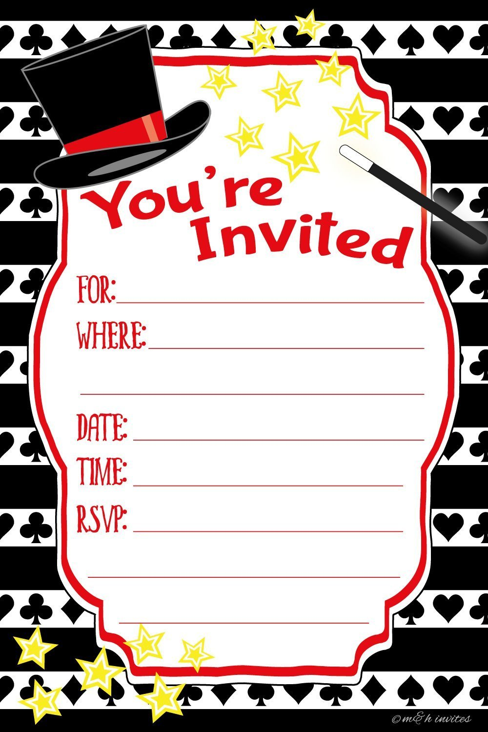 Amazon.com: Magic Birthday Party Invitations - Fill In Style (20 ...