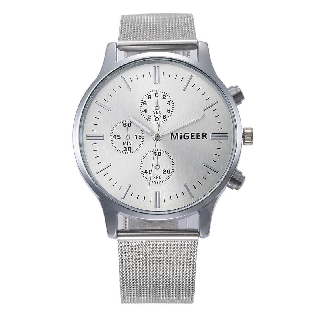 Mandystore Women's Men's Classic Wrist Watch Steel Strap Quartz Watches (Silver)