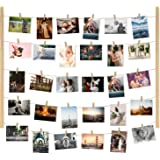 Y&ME YM Wood Picture Photo Frame for Hanging Wall Decor, Collage Artworks Prints Multi Pictures Organizer with 30 Clips…