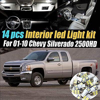 14Pcs White 6000K Interior LED Light Kit Pack Compatible for 2001-2010 Chevrolet Silverado 2500HD: Automotive