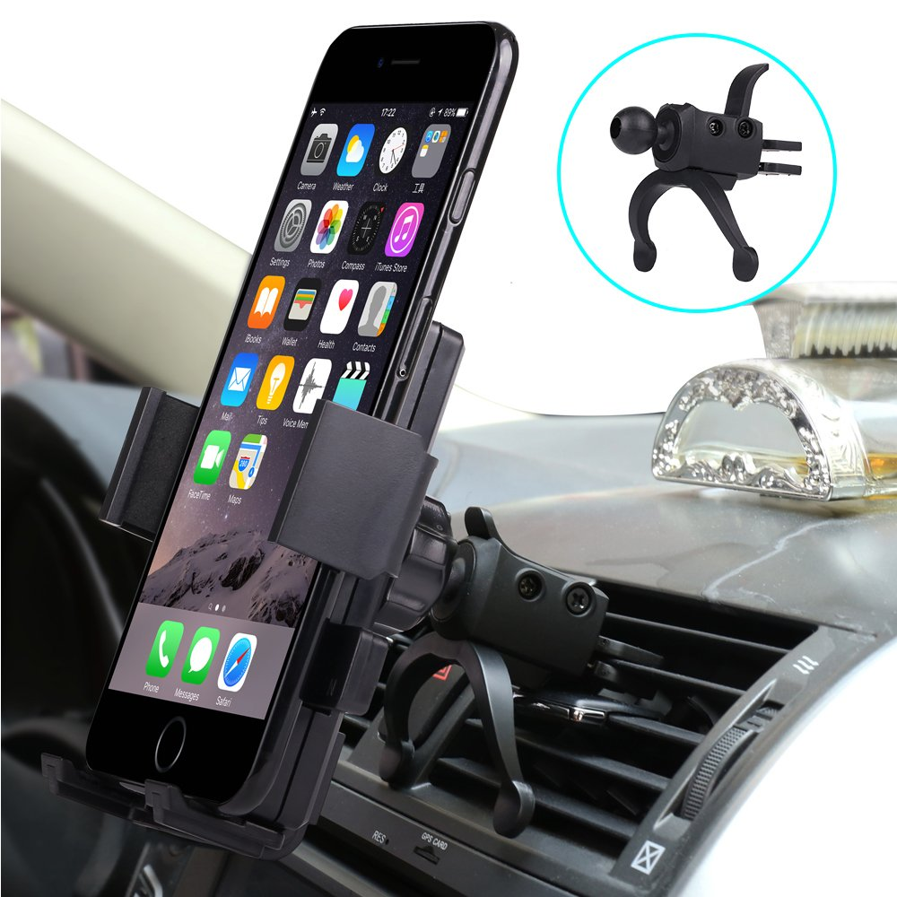 Car Phone Mount,Universal Smartphone Car Air Vent Mount Holder Cradle,360 Rotation Cell Phone Mount for iPhone X 8 7 6 6S Samsung Galaxy S9 S8 S7 S6 S5 GPS HTC LG Sony Nexus Motorola More Gisian