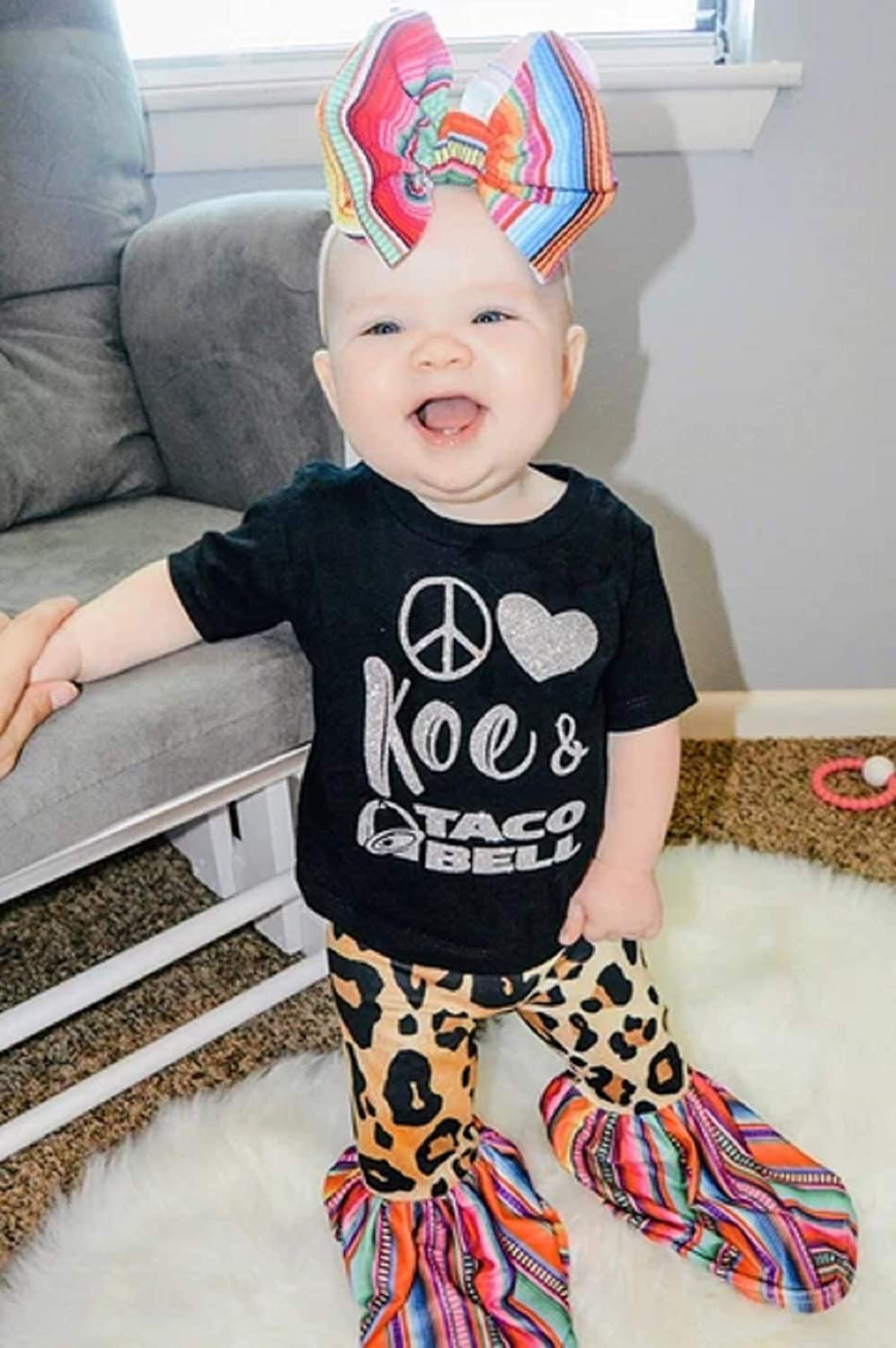 Toddler Baby Girls Leopard Printed Legging Pants Rainbow Bell-Bottoms Ruffle Trousers Long Pants Clothes 1-6T