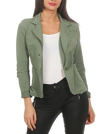 ZARMEXX Mesdames Blazer Jacket Veste Blazer Basic Manteau Sweat Vintage (S XL)