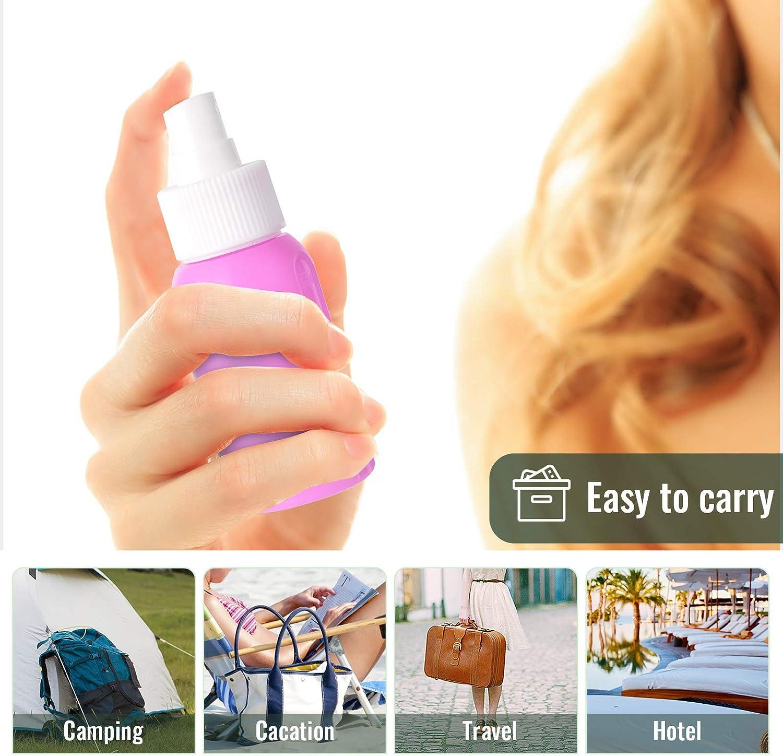 Lanthour Empty Spray Bottle, 4Pcs 50ml Upgrade New Silicone Refillable Makeup Small Travel Spray & Emulsion Bottle, 2Pcs Pump heads, 2Pcs Small Folding Funnel Spray Bottle