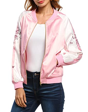 eshion Women Zipper Floral Animal Embroidered Bomber Jacket ...