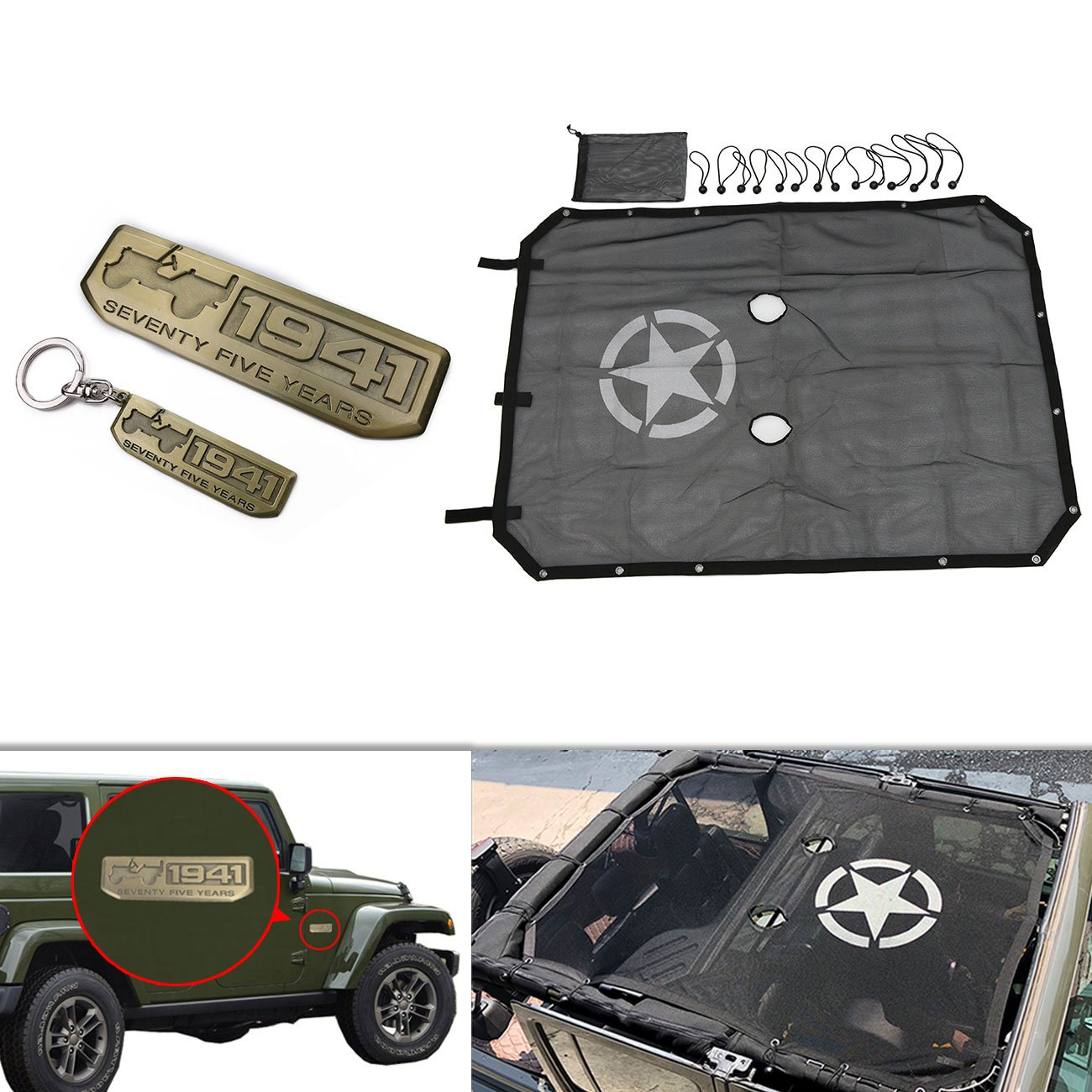 buyinhouse for Jeep Wrangler JKU 4-Door (2007-2017) Mesh Shade Top Cover (Freedom Stars) Upgrade Durable Polyester Provides UV Sun Protection (3 Year Warranty + Double Gifts)