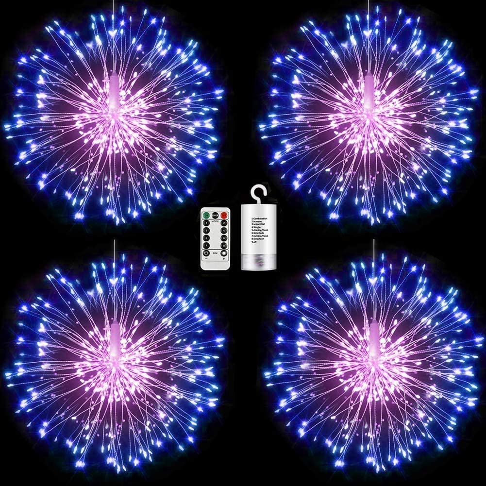 4 Packs Firework Lights Copper Wire LED Lights, 8 Modes Dimmable String Fairy Lights with Remote Control, Waterproof Hanging Starburst Lights for Parties,Home,Christmas Outdoor Decoration, Blue Pink