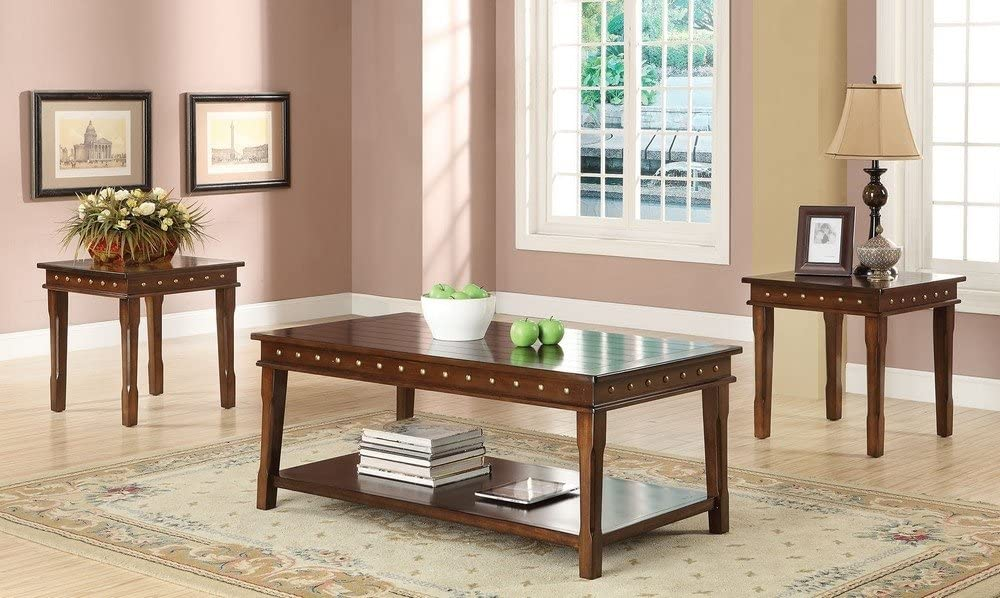 ACME Furniture 3 Piece Mitra Coffee and End Table Set Walnut