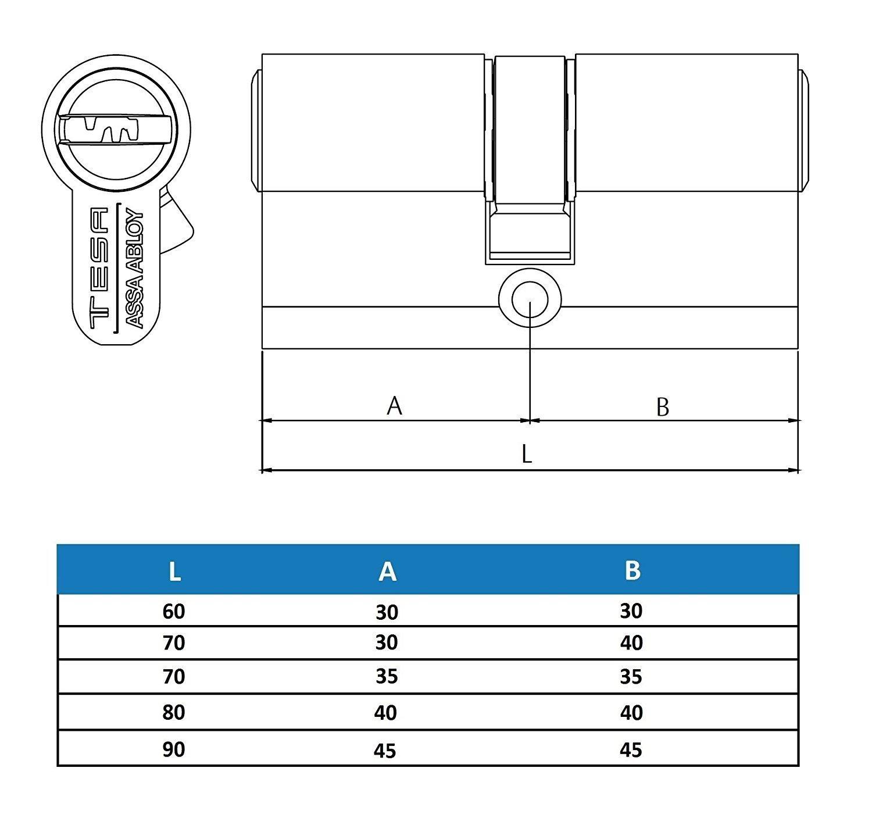 Leva larga Tesa Assa Abloy Cilindro de seguridad T60 30x30 mm Latonado T65B3030L Bot/ón
