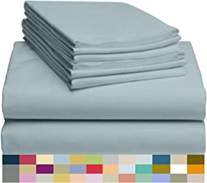 "LuxClub 6 PC Sheet Set Bamboo Sheets Deep Pockets 18"" Eco Friendly Wrinkle Free Sheets Hypoallergenic Anti-Bacteria Machine Washable Hotel Bedding Silky Soft - Light Teal King"
