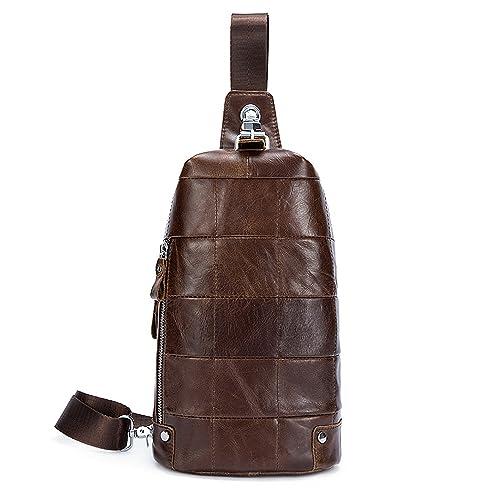 92bf3509128b Men Genuine Leather Chest Bag Crossbody Shoulder Bag Sling Bags Messenger  Bag Daypack For Business Casual