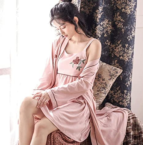 KUKI Camisón Pijama Sexy de Manga Larga de algodón para Mujer ...
