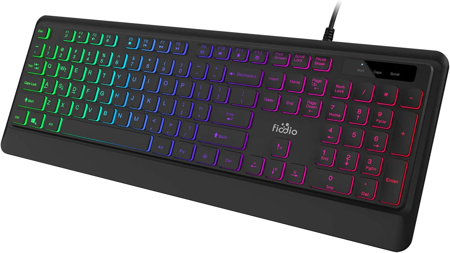 FIODIO Membrane Gaming Keyboard, USB Wired Keyboard with Rainbow Backlit, 104 Comfortable Quiet Silent Keys, 26 Anti-Ghosting Keys, Spill Resistant, Multimedia Control for PC and Desktop Computer