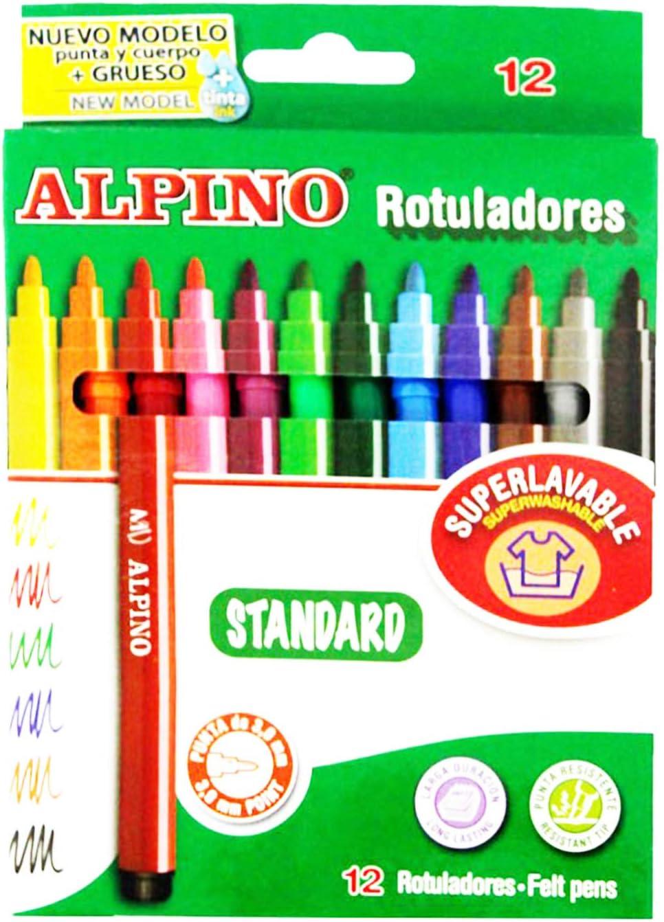 Alpino - Caja de 12 rotuladores súper lavables: Amazon.es: Oficina y papelería