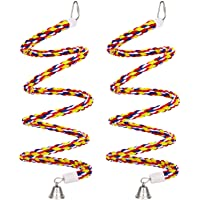 2PCS 63'' Bird Rope Perches Birdcage Swing Toys 100% Cotton No Smell Peck/Chewing with Bell Climbing Standing Bungee…