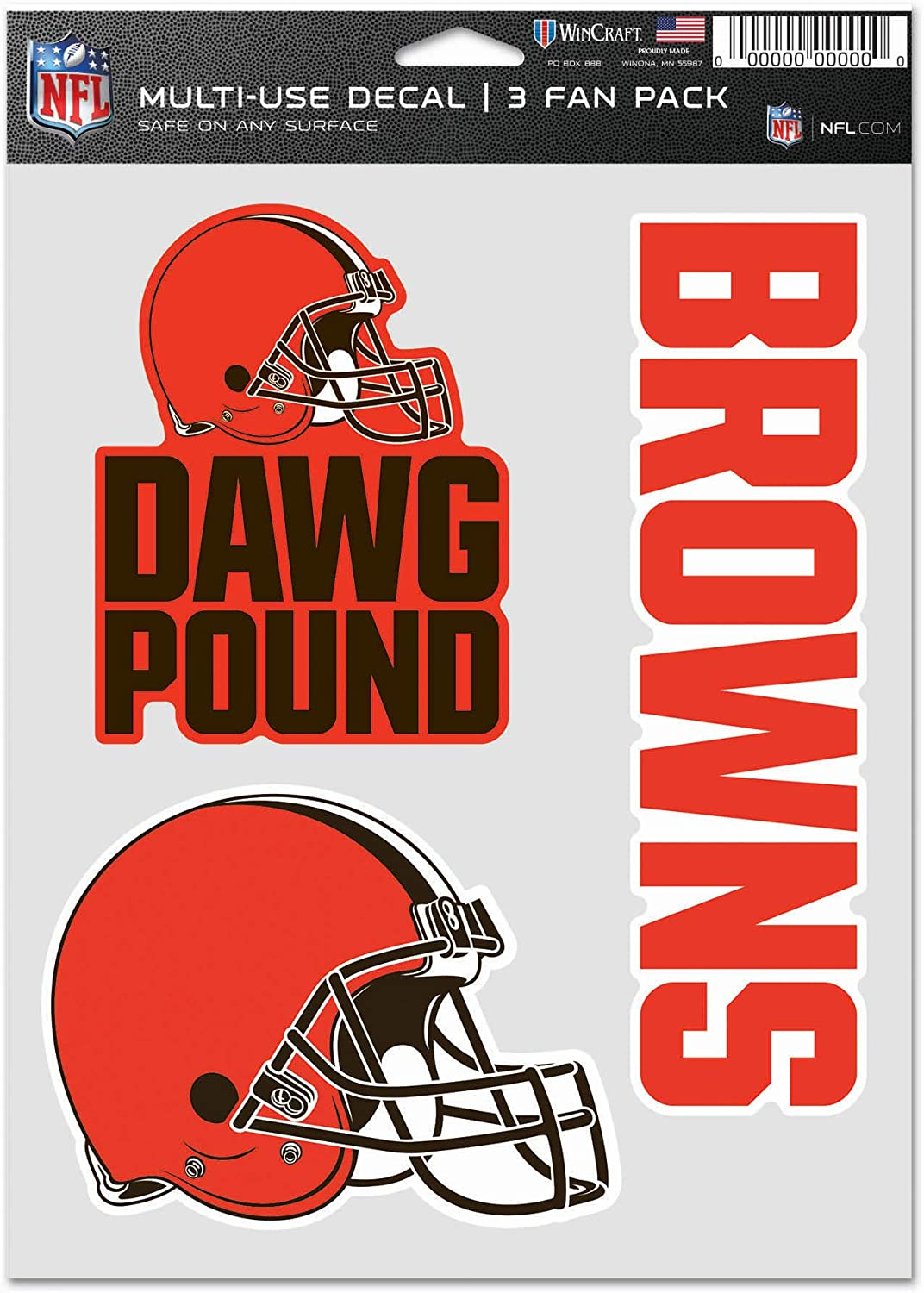WinCraft NFL Cleveland Browns Decal Multi Use Fan 3 Pack, Team Colors, One Size