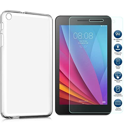 premium selection 2f626 9c945 MYLB Compatible with Huawei MediaPad T3 7.0 Case Cover,with Huawei MediaPad  T3 7.0 Screen Protector.(2 in 1) TPU Silicone Case with 9H Tempered Glass  ...