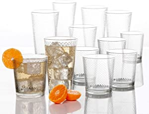 Circleware 40148 Paragon Honeycomb 12 piece Glassware Set Highball Drinking Glasses & Whiskey Cups, Beverage Tumbler for Water, Beer, Juice, Ice Tea Bar, 6-15.75 oz & 6-12.5 oz