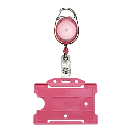 Customcard Yo Yo Badge Reel with ID Card Pass Holder - Premier Pink