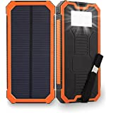 Solar Charger 15000mAh Friengood Portable Solar Panel Power Bank, Dual USB Port Battery Phone Charger with 6 LED Emergency Light for iPhone, iPad, Samsung and More (Orange)