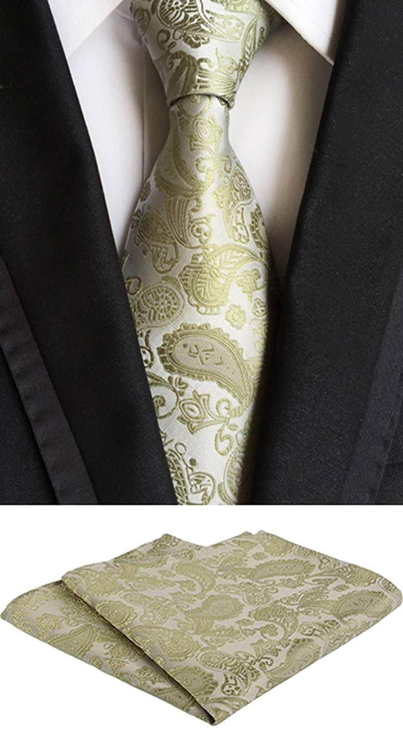 MOHSLEE Mens Gold Paisley Suit Tie Handky Wedding Necktie Pocket Square Gift Set