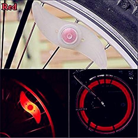 Ishua Luz de radios para bicicleta, rojo, doble cara, radio, luz ...